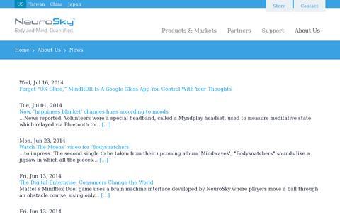 Screenshot of Press Page neurosky.com - News | NeuroSky - captured July 20, 2014