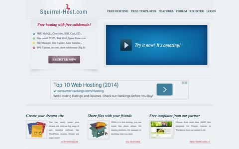 Screenshot of Home Page squirrel-host.com - Squirrel-Host.com | Free host - captured Sept. 18, 2014