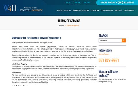 Screenshot of Terms Page webmasterforhire.us - Webmaster For Hire |   Terms of Service - captured Oct. 20, 2018