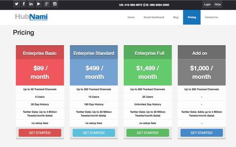 Screenshot of Pricing Page hubnami.com - Pricing   HubNami - captured July 3, 2016