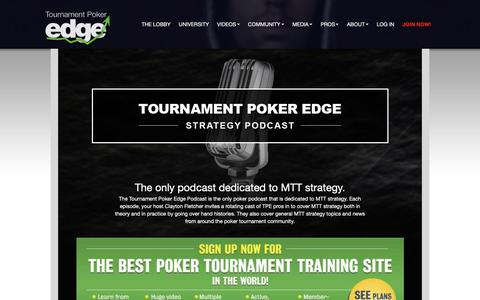 Screenshot of Press Page tournamentpokeredge.com - Podcasts | Tournament Poker Edge | Learn Poker Strategy | Tournament Poker Training from the Pros - Professional MTT training from the top live and online pros - captured June 16, 2019