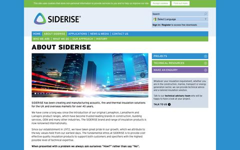 Screenshot of About Page siderise.com - About Siderise - captured Feb. 22, 2016