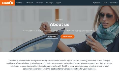 Screenshot of About Page centili.com - About Centili mobile payment provider | Centili - captured May 15, 2017