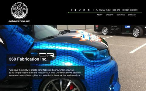 Screenshot of Home Page 360fabrication.com - 360 Fabrication Inc. | Custom Cars | Abbotsford BC - captured Oct. 18, 2017