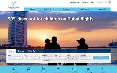 Screenshot of Home Page azal.az - Azerbaijan Airlines - Book flights online - captured June 21, 2017