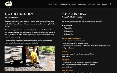 Screenshot of Products Page permanentpotholesolutions.com.au - BITUMEN IN A BAG | PRE-MIX ASPHALT | BITUMEN REPAIR SOLUTION - captured Nov. 4, 2018
