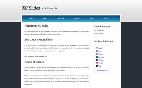 "Screenshot of Home Page xcslides.com - XC Slides â""¢ - XUTURE CAPITAL Slides by Xuture LLC - captured May 22, 2016"