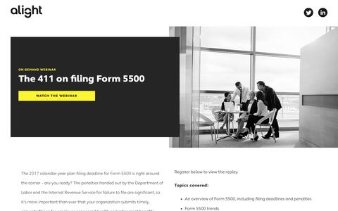 Screenshot of Landing Page alight.com - The 411 on filing Form 5500 | Alight Solutions - captured Sept. 19, 2018