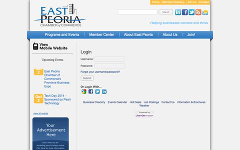 Screenshot of Login Page epcc.org - Login - East Peoria Chamber of Commerce - captured Oct. 1, 2014