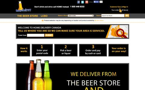 Screenshot of Home Page homedeliverycanada.ca - Home Delivery Canada - Liquor Delivery, Beer Delivery, Alcohol Delivery - captured Sept. 30, 2014