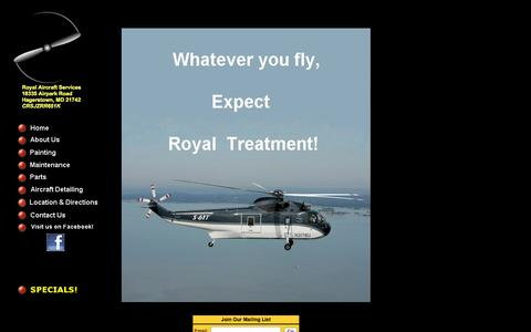 Screenshot of Home Page royalaircraft.com - Welcome to Royal Aircraft Services - captured Oct. 6, 2014