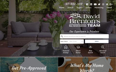 Screenshot of Home Page move2indy.com - Indianapolis Real Estate Provided By David Brenton's Team - captured Oct. 2, 2018