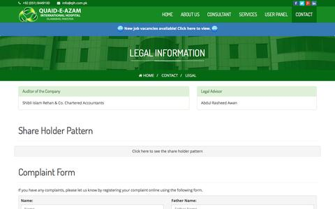 Screenshot of Terms Page qih.com.pk - Legal - captured Jan. 28, 2016
