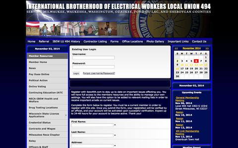 Screenshot of Login Page ibew494.com - IBEW LOCAL UNION 494 - captured Nov. 2, 2014