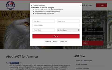Screenshot of About Page actforamerica.org - Act for America - About ACT for America - captured Dec. 22, 2015