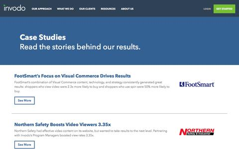 Screenshot of Case Studies Page invodo.com - Case Studies - Real Examples of How Our Clients Use Visual Content | Invodo - captured April 14, 2016