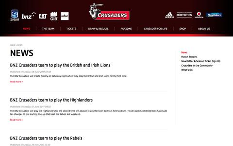 Screenshot of Press Page crusaders.co.nz - News & Information for Crusaders Rugby | Crusaders - captured June 28, 2017