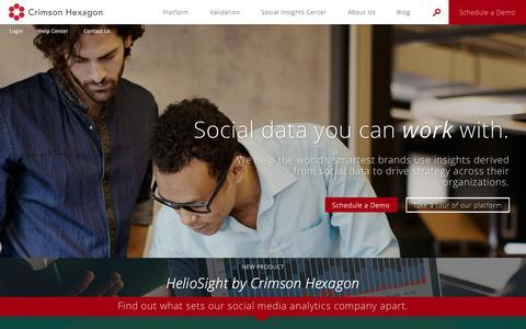 Screenshot of Home Page crimsonhexagon.com - Leading Social Media Analytics Company | Homepage | Crimson Hexagon - captured Jan. 28, 2017