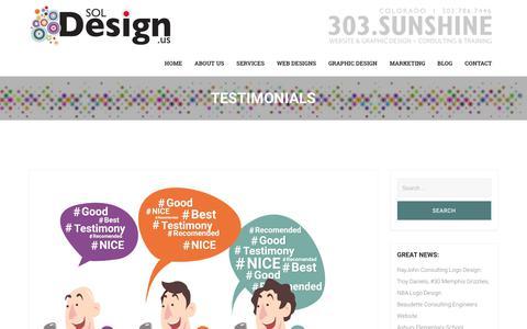 Screenshot of Testimonials Page soldesign.us - Testimonials – SOL DESIGN, INC.   WEBSITE & GRAPHIC DESIGN FIRM   COLORADO   303.SUNSHINE (303.786.7446) - captured Nov. 11, 2018