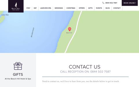 Screenshot of Contact Page beechhillhotel.co.uk - beechhillhotel :: Contact - captured June 1, 2017