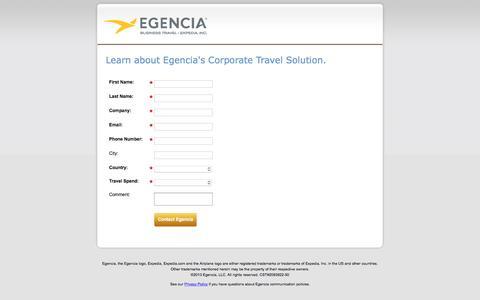 Screenshot of Landing Page egencia.com - Contact Us - captured Feb. 24, 2016