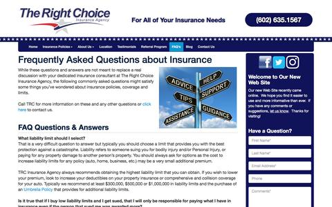 Screenshot of FAQ Page trcinsuranceagency.com - Frequently Asked Questions about Insurance - captured May 22, 2017