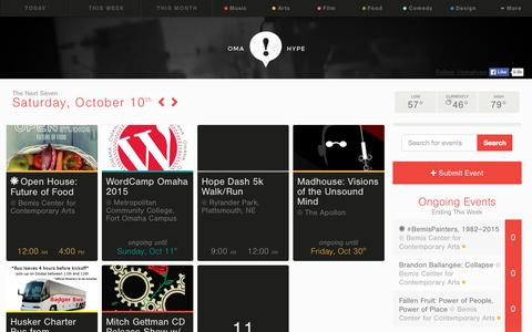 Screenshot of Home Page omahype.com - Omahype: The Omaha Event Calendar - captured Oct. 10, 2015