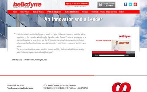Screenshot of About Page heliodyne.com - An Innovator and a Leader - Heliodyne - captured July 13, 2016