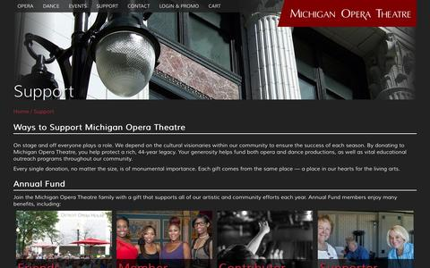 Screenshot of Support Page michiganopera.org - Support | Michigan Opera Theatre - captured Feb. 13, 2016