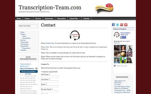 Screenshot of Contact Page transcription-team.com - Contact   Transcription-Team.com - captured Oct. 2, 2014