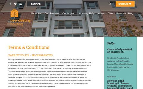 Screenshot of Terms Page newdestinyhousing.org - New Destiny Housing » Terms & Conditions - captured Oct. 18, 2018