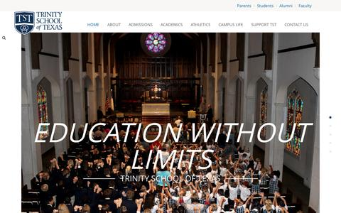 Screenshot of Home Page trinityschooloftexas.com - Trinity School of Texas - captured Aug. 15, 2015