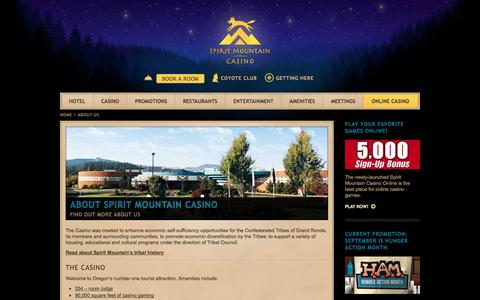 Screenshot of About Page spiritmountain.com - About Us | Spirit Mountain Casino | Confederated Tribes of Grand Ronde - captured Sept. 23, 2014