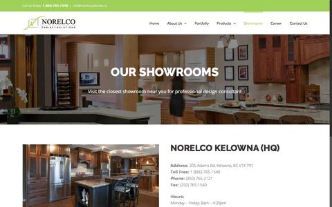 Screenshot of Locations Page norelcocabinets.ca - Find the showroom nearest you | Norelco Cabinets - captured Dec. 15, 2016