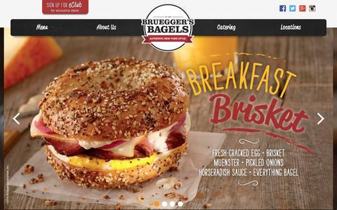 Screenshot of Home Page brueggers.com - Home - Bruegger's Bagels - captured Jan. 8, 2016