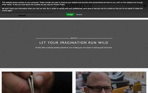 Screenshot of Services Page burrellsjewellers.co.uk - Services - Let Your Imagination Run Wild | Burrells UK Jeweller - captured Aug. 4, 2018