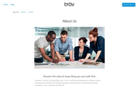 Screenshot of About Page trov.com - About Us | Trōv - captured Sept. 17, 2014