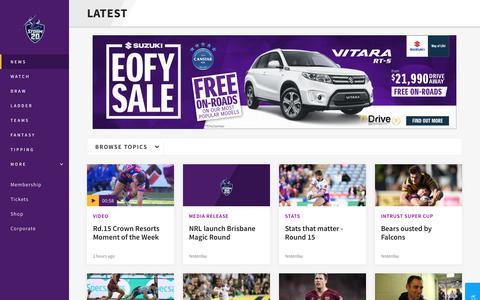 Screenshot of Press Page melbournestorm.com.au - News - Storm - captured June 19, 2018