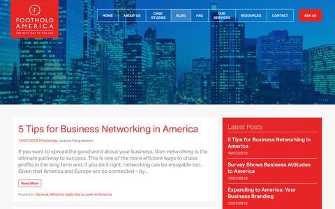 Screenshot of Blog footholdamerica.com - Business Blog | Foothold America - captured Aug. 19, 2018