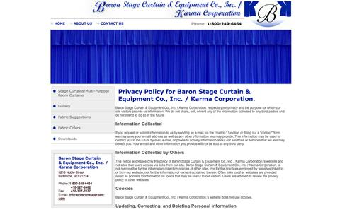 Screenshot of Privacy Page baronstage.com - Privacy Policy|Baron Stage Curtain & Equipment Co,. Inc. / Karma Corporation - captured Oct. 5, 2014