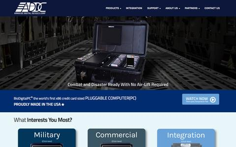 Screenshot of Home Page arnousedigitaldevices.com - Arnouse Digital Devices - Pluggable Computing Platform - BioDigitalPC® - captured Feb. 6, 2016