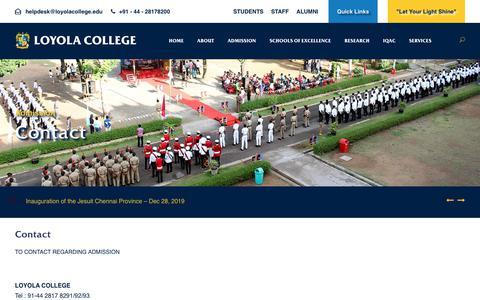 Screenshot of Contact Page loyolacollege.edu - Loyola College - captured Dec. 13, 2019