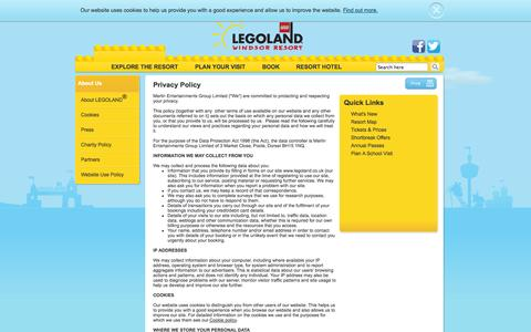 Screenshot of Privacy Page legoland.co.uk - Privacy Policy - LEGOLAND - captured Sept. 19, 2014