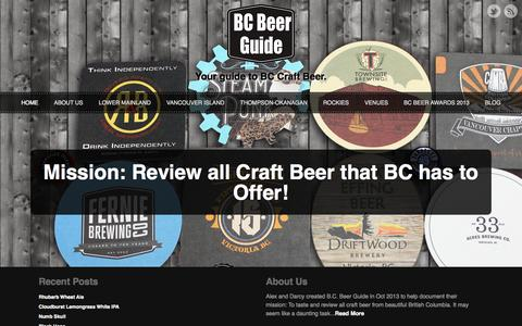 Screenshot of Home Page bcbeerguide.ca - BC Beer Guide | Your Guide to BC Craft Beer - captured Sept. 30, 2014