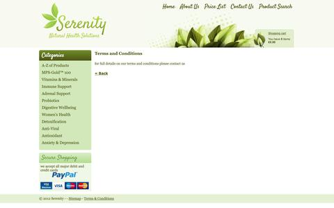 Screenshot of Terms Page serenityallergy.co.uk - Serenity Allergy Testing Terms and Conditions - captured Oct. 18, 2018