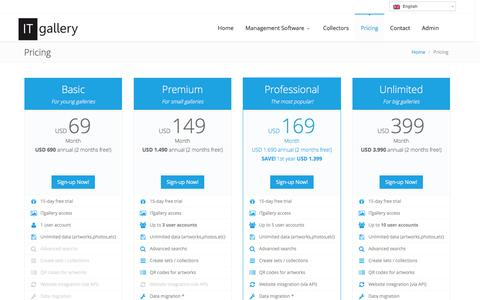 Screenshot of Pricing Page itgalleryapp.com - Art Gallery Software Prices   ITgallery - captured Feb. 10, 2016