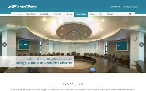 Screenshot of Case Studies Page reflex.co.uk - Case Studies | AV Integration | Reflex AV - captured Oct. 18, 2018