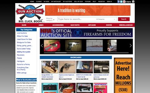 Screenshot of Home Page gunauction.com - Buy & Sell Guns Online at GunAuction.com - New & Used Guns For Sale - captured Sept. 23, 2014