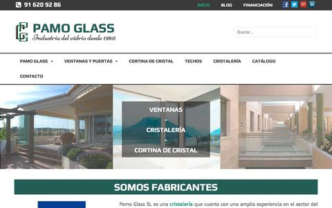 Screenshot of Home Page pamoglass-cristalerias.com - Fabricantes Komerling madrid | Ventanas pvc | Distribuidores Guardian Sun Madrid - captured April 21, 2018