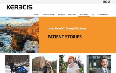 Screenshot of Testimonials Page kerecis.com - Patient Stories · Kerecis - captured July 13, 2018